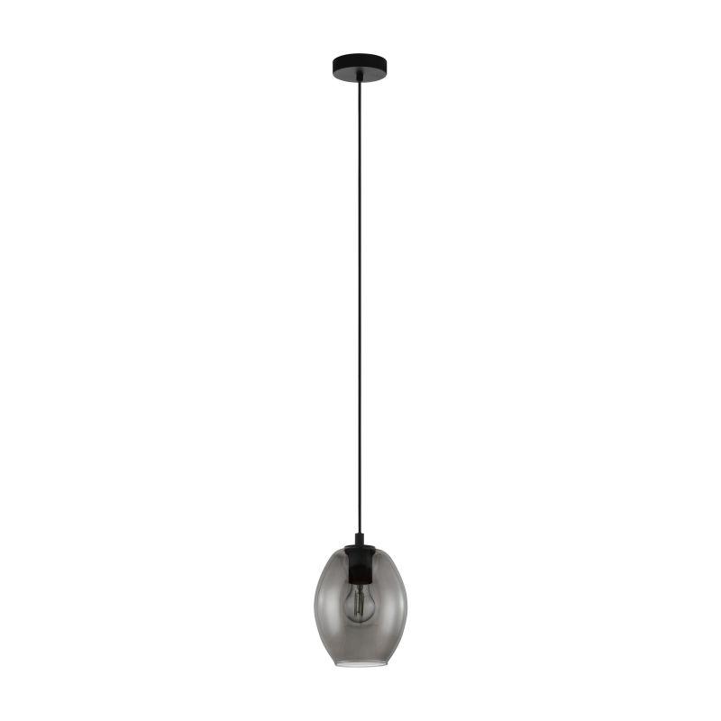 Eglo-98582 - Cadaques - Smoky Glass with Black Single Pendant
