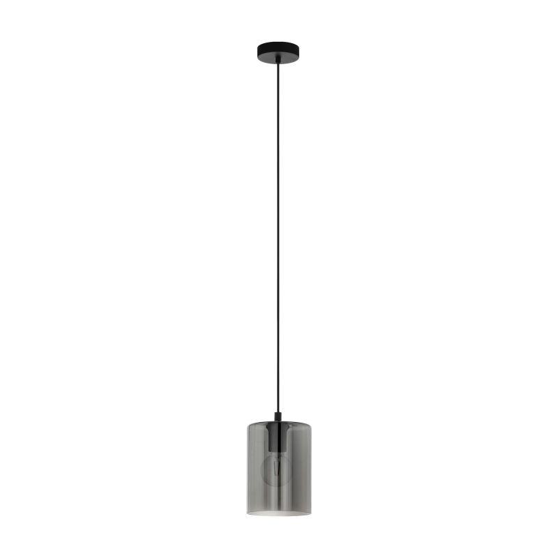 Eglo-98585 - Cadaques 1 - Smoky Glass with Black Single Pendant