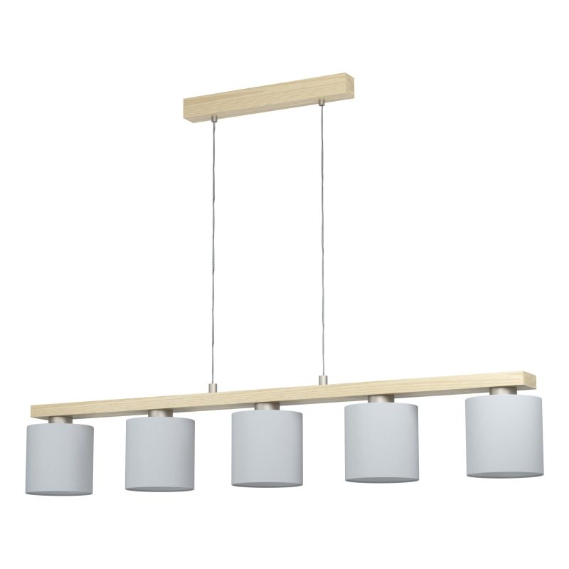 Eglo-98591 - Castralvo - White Shades & Wood 5 Light over Island Fitting