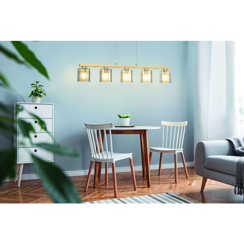 Eglo-98592 - Castralvo - Amber Glass & Wood 5 Light over Island Fitting