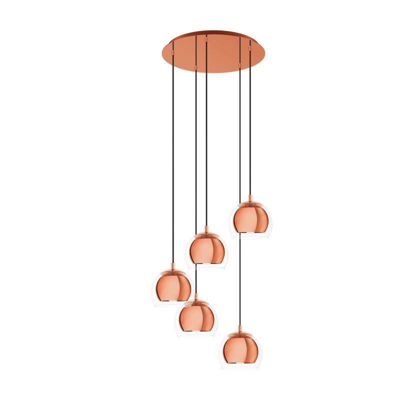 Eglo-98595 - Rocamar 1 - Clear Glass with Copper 5 Light Cluster Pendant