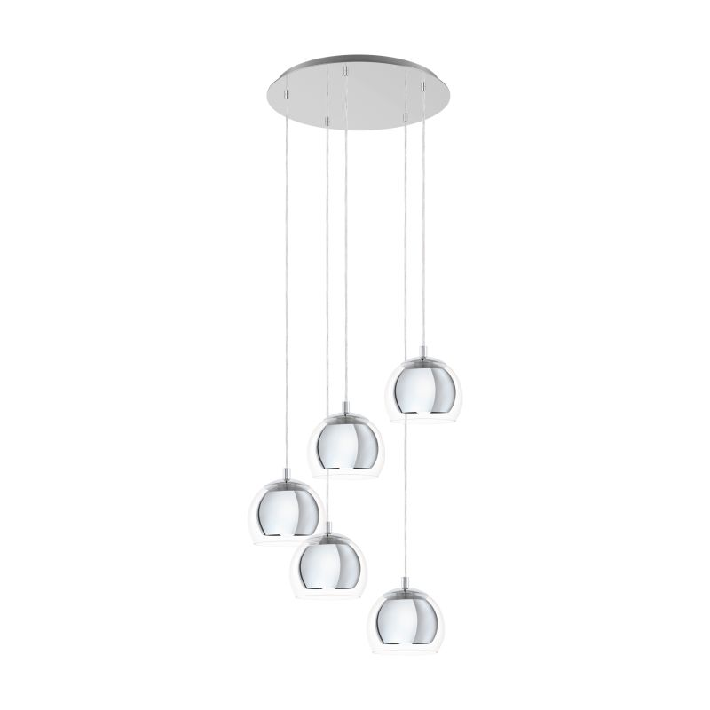 Eglo-98596 - Rocamar 5 - Clear Glass with Chrome 5 Light Cluster Pendant