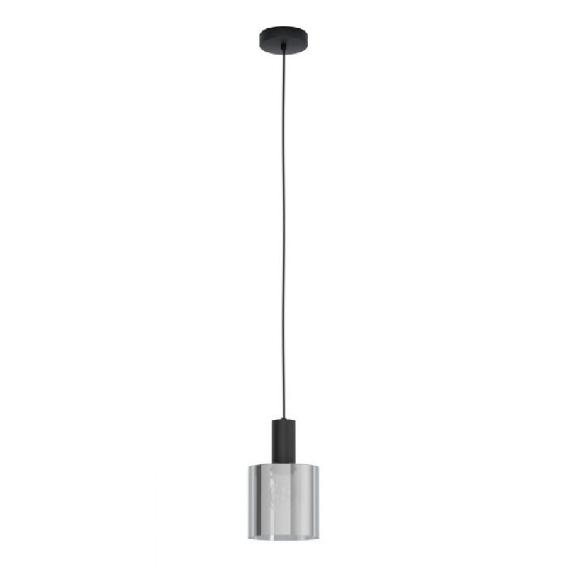 Eglo-98752 - Gorosiba - Smoky Glass with Black Single Pendant
