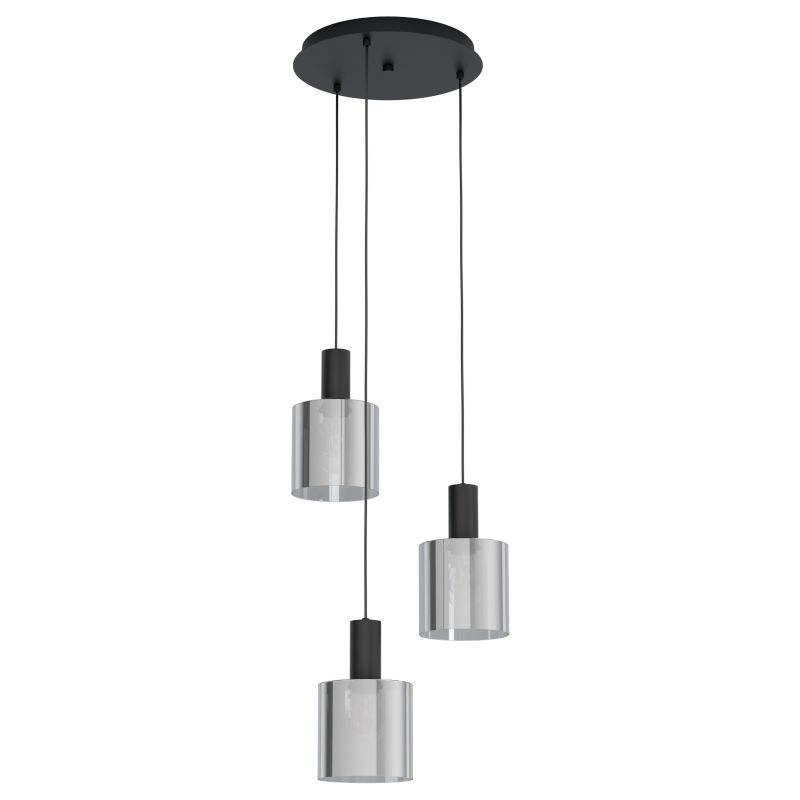 Eglo-98754 - Gorosiba - Smoky Glass with Black 3 Light Cluster Pendant