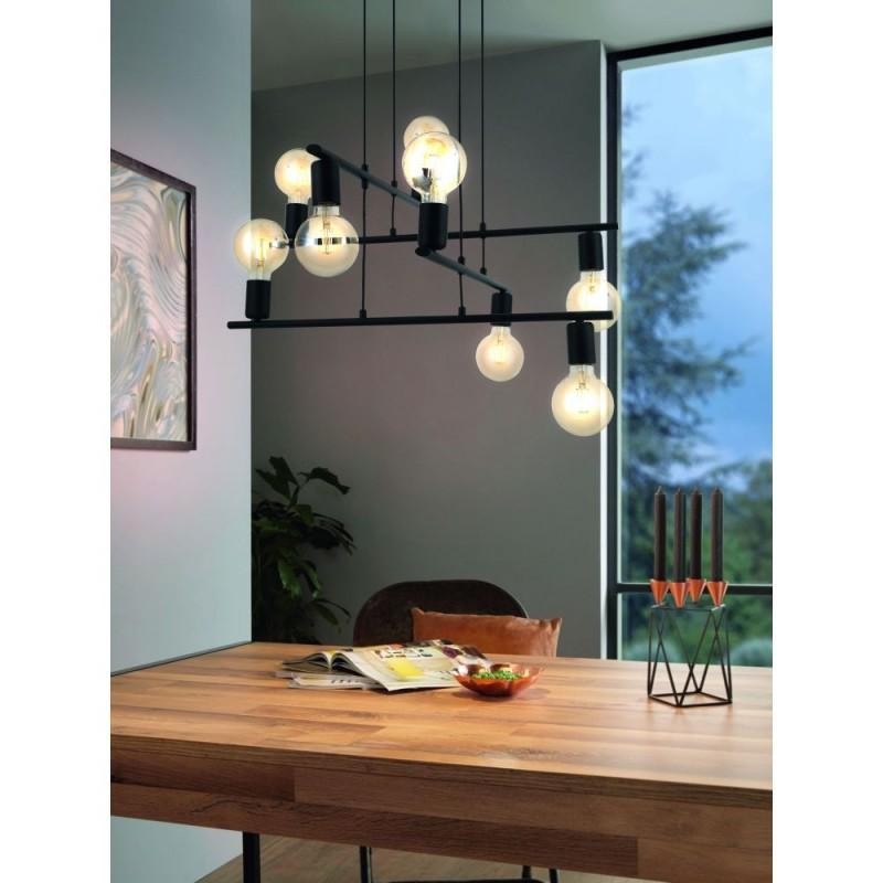 Eglo-98909 - Mezzana - Black 8 Light Square Centre Fitting
