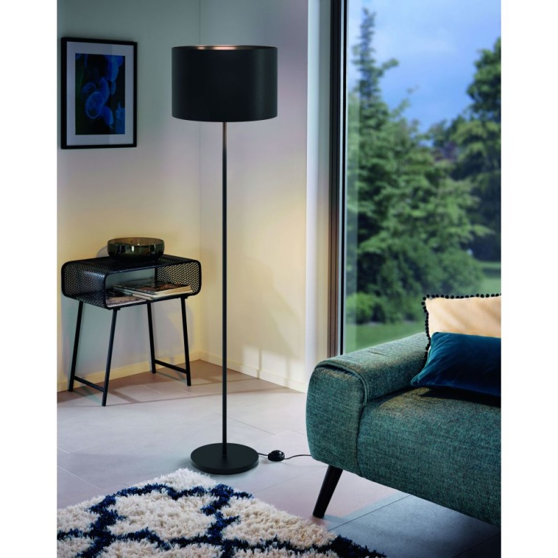 Eglo-99046 - Maserlo 1 - Black Drum Shade Floor Lamp