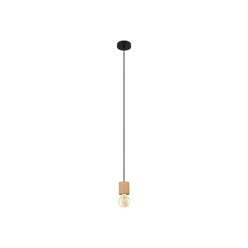 Eglo-99078 - Turialdo - Black & Wood Single Pendant