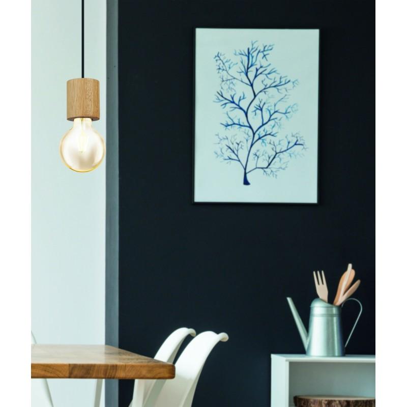 Eglo-99078 - Turialdo - Black & Wood Single Pendant