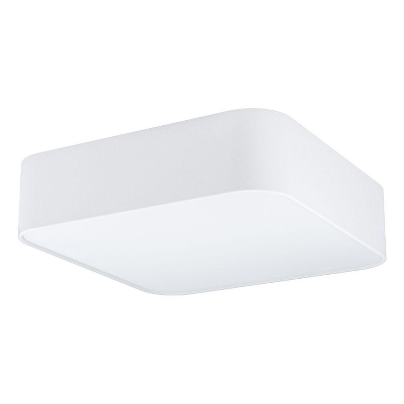 Eglo-99089 - Pasteri Square - White Fabric & White Diffuser 5 Light Square Flush