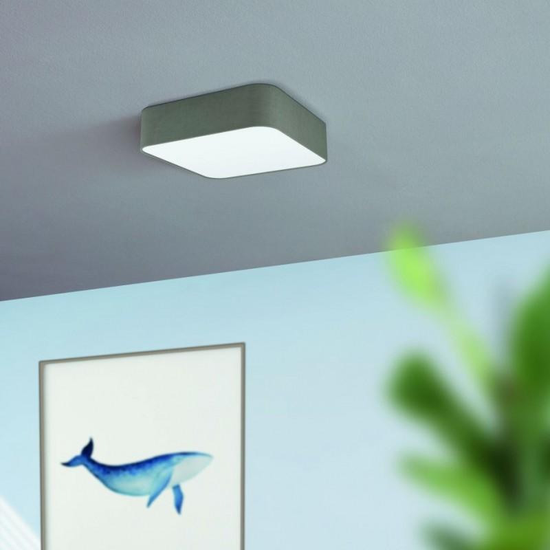 Eglo-99092 - Pasteri Square - Grey & White Diffuser 5 Light Square Flush