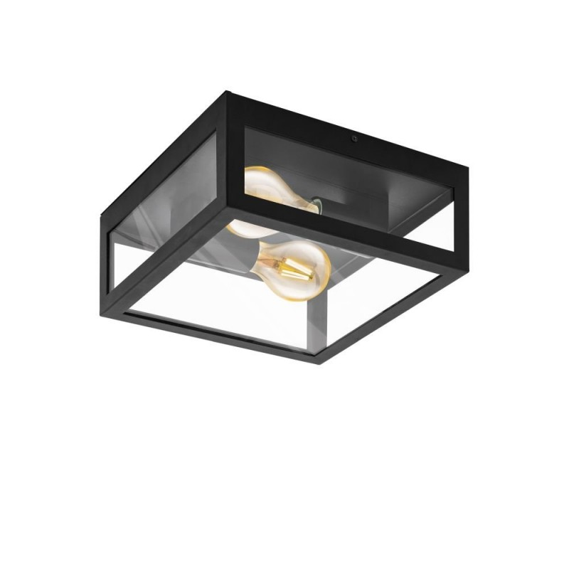 Eglo-99122 - Amezola - Clear & Black 2 Light Lantern Flush