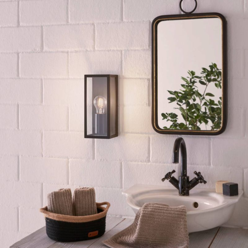 Eglo-99123 - Amezola - Clear & Black 1 Light Lantern Wall Lamp