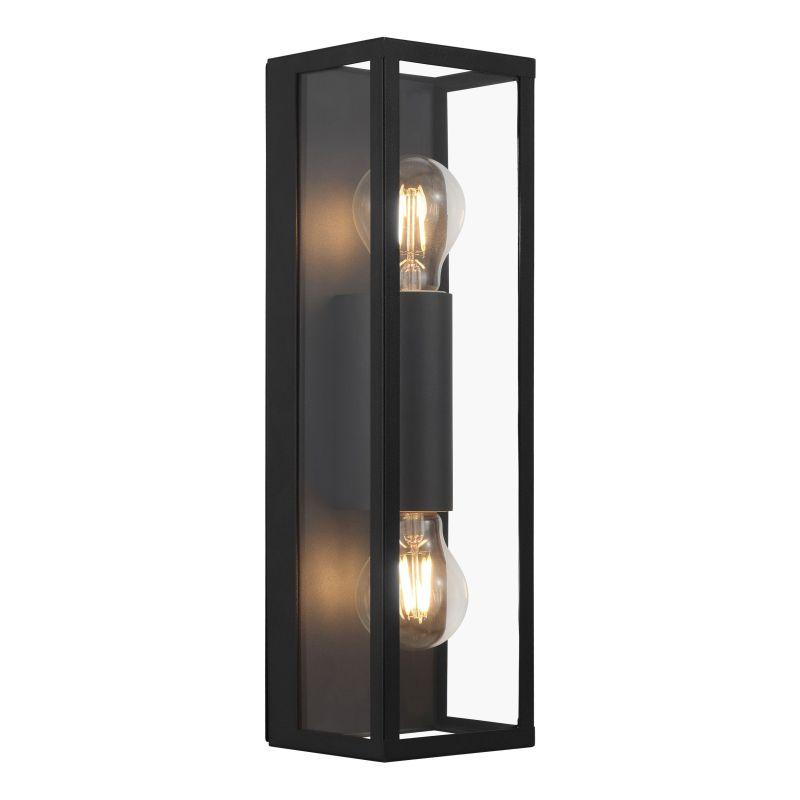 Eglo-99124 - Amezola - Clear & Black 2 Light Lantern Wall Lamp