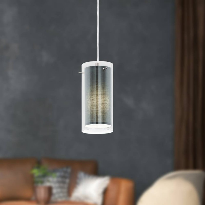 Eglo-99285 - Pinto Textil - Grey Fabric & Clear Glass Single Pendant