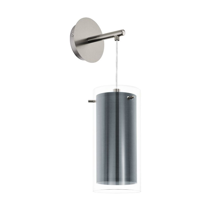 Eglo-99288 - Pinto Textil - Grey Fabric & Clear Glass Wall Lamp