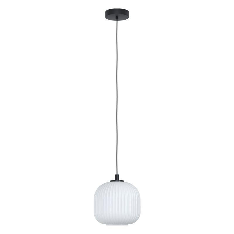 Eglo-99366 - Mantunalle - White Ribbon Glass with Black Pendant