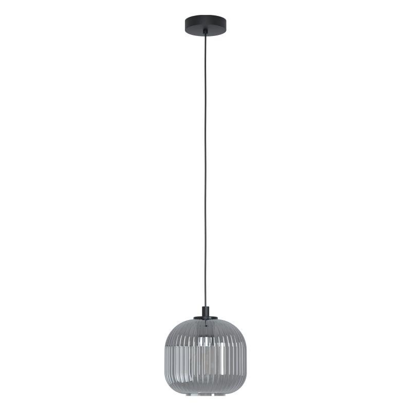 Eglo-99371 - Mantunalle 1 - Smoky Ribbon Glass with Black Pendant