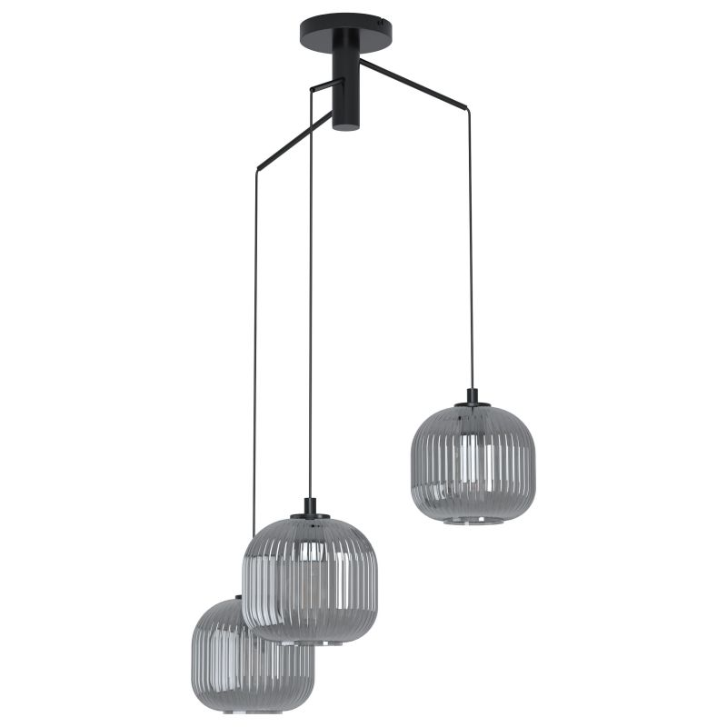 Eglo-99373 - Mantunalle 1 - Smoky Ribbon Glass with Black Cluster Fitting