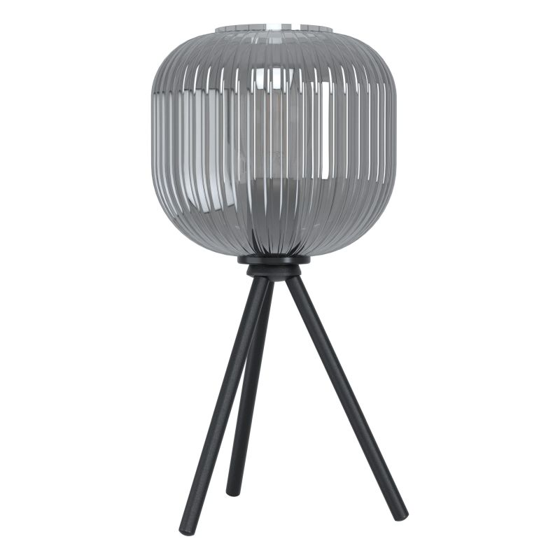 Eglo-99374 - Mantunalle 1 - Smoky Ribbon Glass with Black Table Lamp