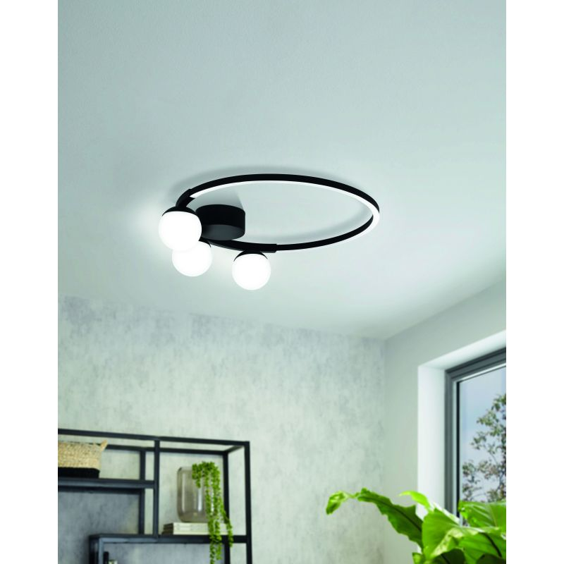 Eglo-99375 - Phianeros - LED White Globe & Black Round Flush