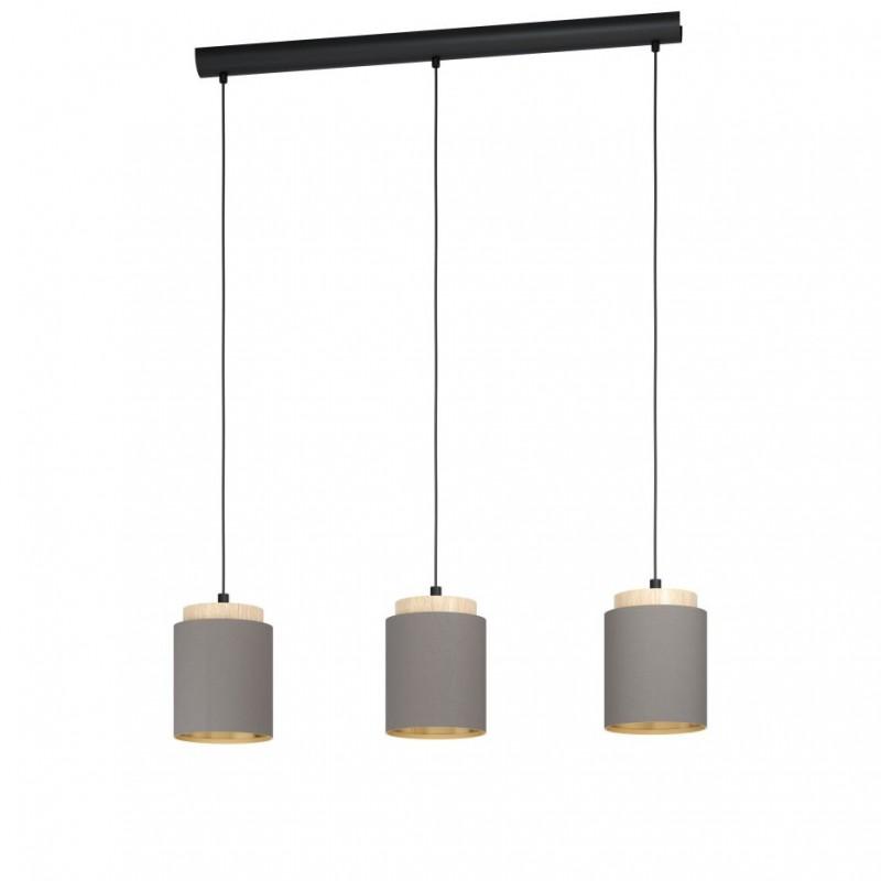 Eglo-99446 - Albariza - Cappuccino Shade & Wood 3 Light Bar
