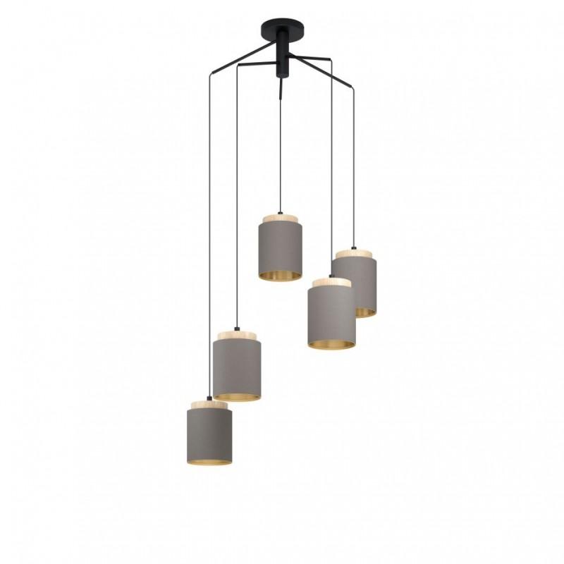 Eglo-99447 - Albariza - Cappuccino Shade & Wood 5 Light Cluster Pendant
