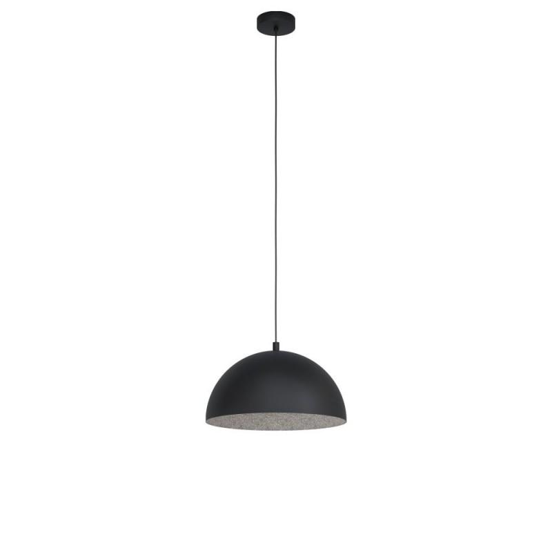 Eglo-99451 - Gaetano 1 - Small Black with Grey Inside Single Pendant