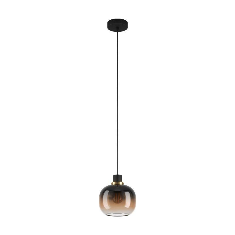 Eglo-99614 - Oilella - Black, Brown, Clear Glass with Black Single Pendant