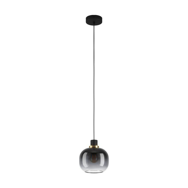 Eglo-99616 - Oilella - Black, Grey, Clear Glass with Black Single Pendant