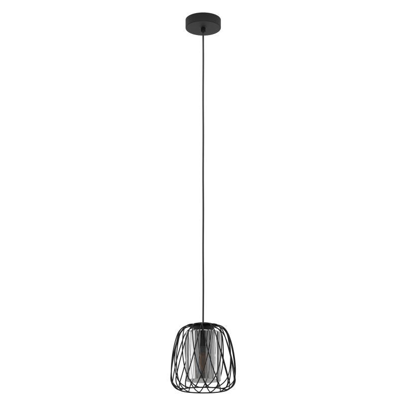 Eglo-99705 - Floresta - Smoky Glass & Black Single Pendant