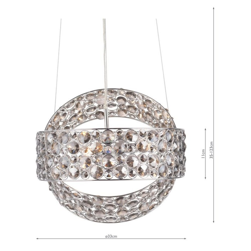 Dar-49306 - Victoria - Smoky Crystal & Chrome 3 Light Pendant