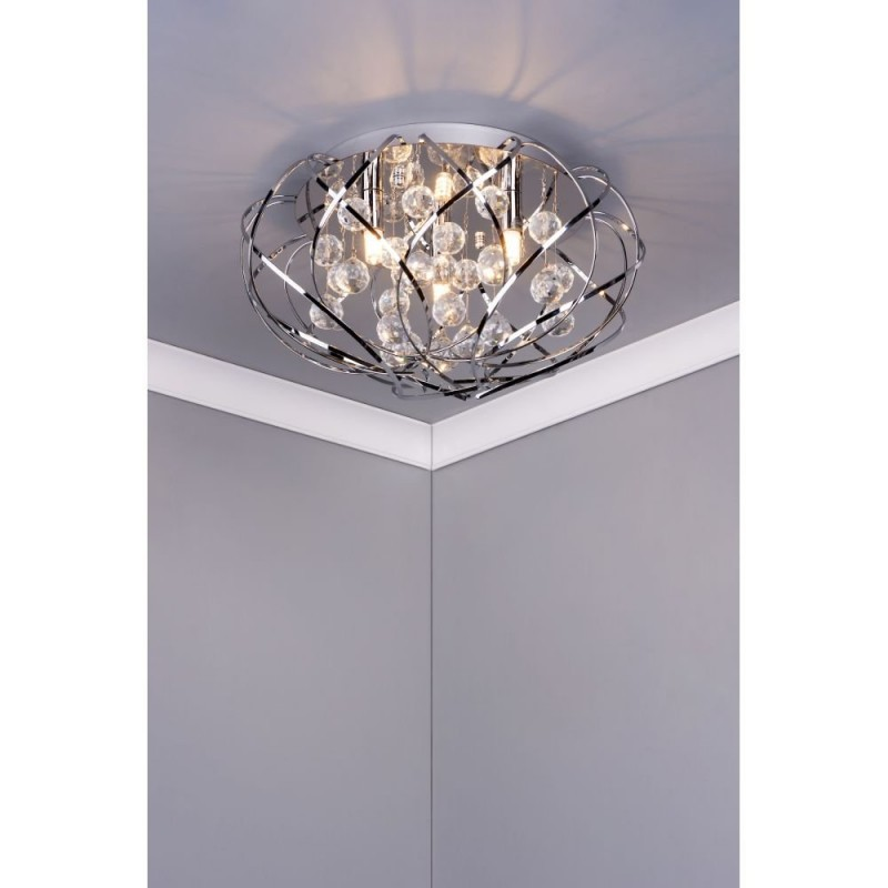 Dar-49689 - Riya - Decorative Crystal & Chrome 3 Light Flush