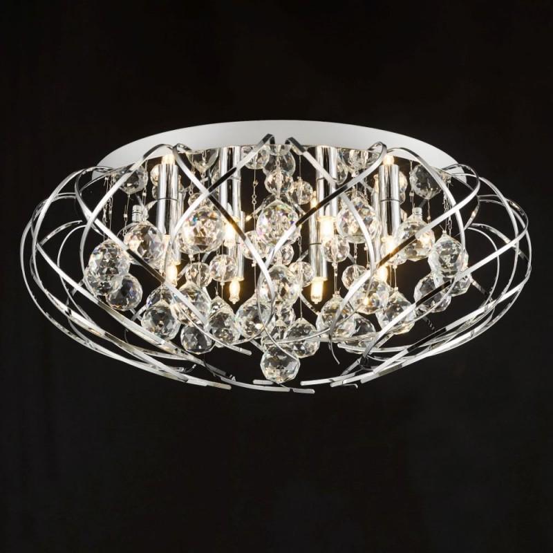 Dar-49690 - Riya - Decorative Crystal & Chrome 8 Light Flush