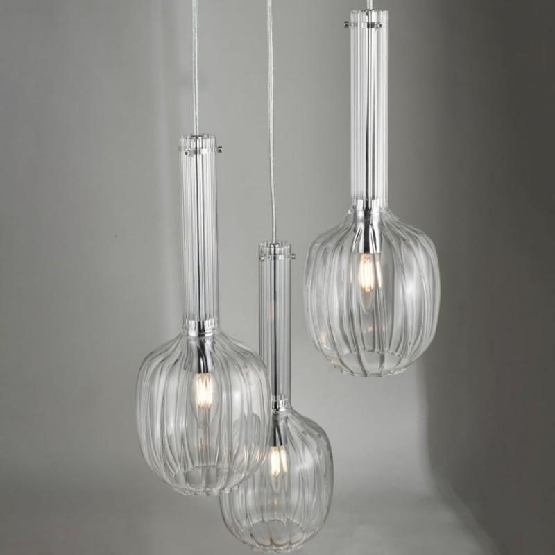 Dar-49987 - Eifel - Clear Glass & Chrome 3 Light Cluster Pendant