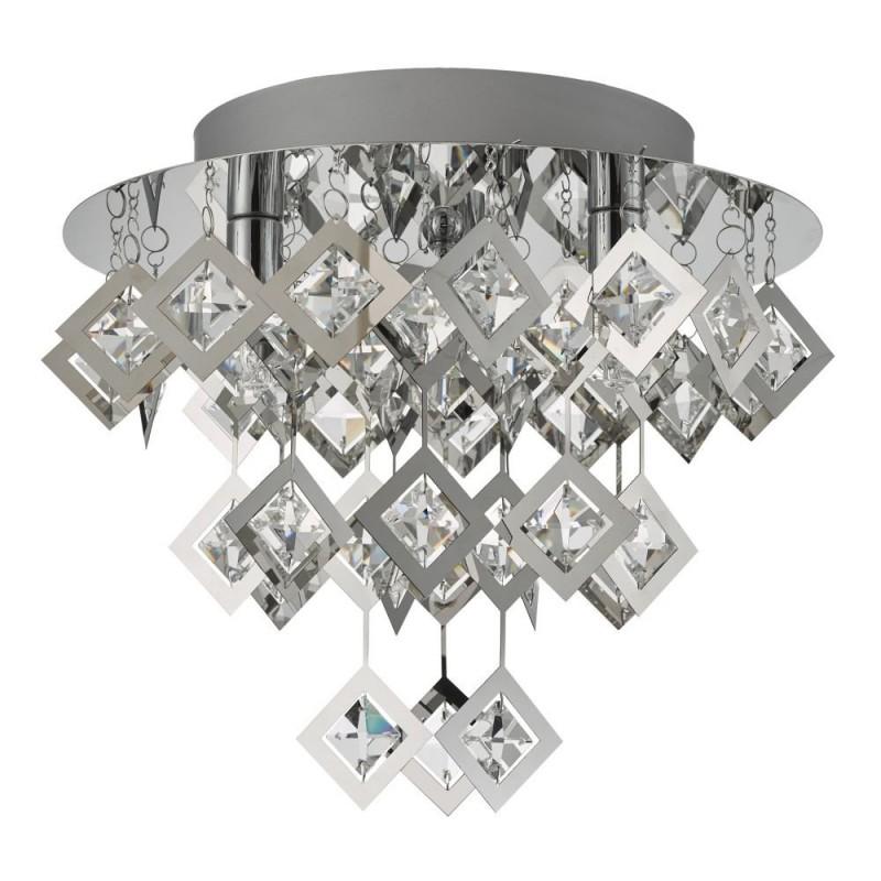 Dar-49998 - Russell - Crystal & Polished Chrome 3 Light Flush