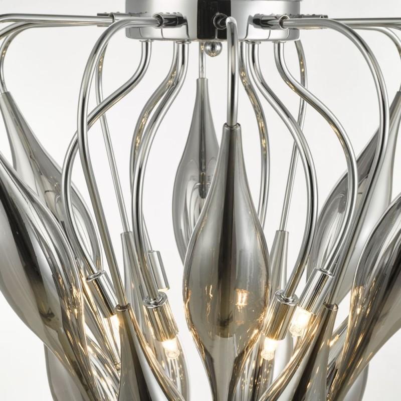 Dar-50028 - Tsuki - Smoky Glass & Polished Chrome 6 Light Pendant