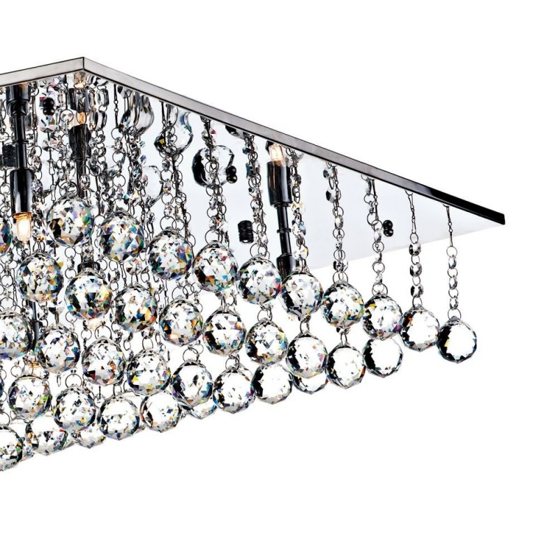 Dar-ABA4750 - Abacus - Square Chrome With Clear Droppers 8 Light Flush