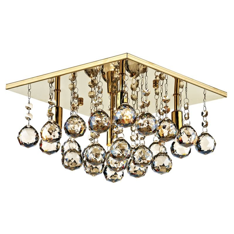Dar-ABA5240 - Abacus - Square Gold With Amber Droppers 4 Light Flush