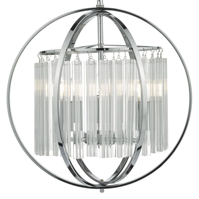 Dar-ABD0350 - Abdul - Chrome Ball with Glass Rods 3 Light Hanging Pendant