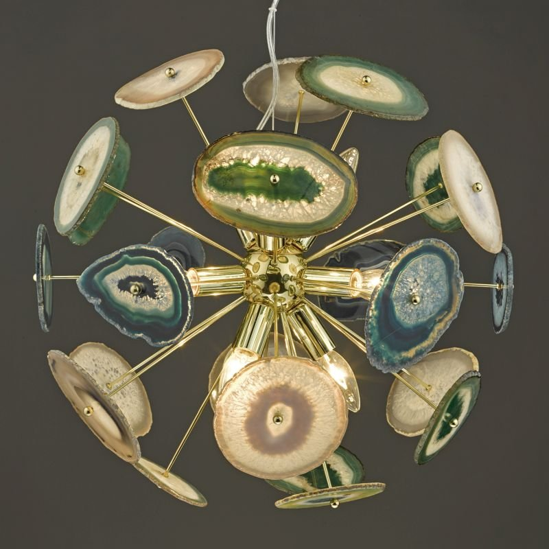 Dar-ACH1355 - Achates - Gold with Pieces of Agate 9 Light Hanging Pendant