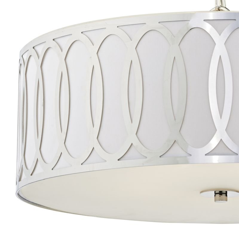 Dar-ACU0550 - Acura - White Fabric with Chrome 5 Light Hanging Pendant