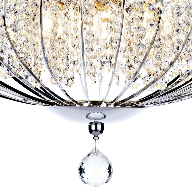 Dar-ADR0550 - Adriatic - Crystal Glass Beads with Chrome 5 Light Pendant