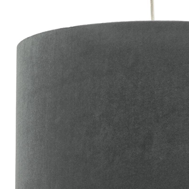 Dar-AKA6539 - Akavia - Velvet Grey Fabric Shade for Hanging Pendant