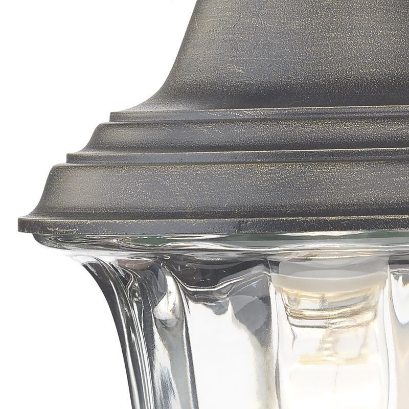 Dar-ALD1635 - Aldgate - Black and Gold with Ribbed Glass Lantern Wall Lamp