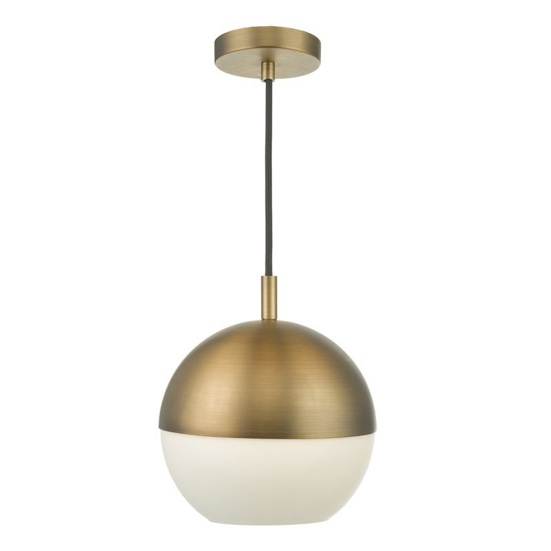 Wisebuys-AND0142 - Andre - Aged Brass with White Glass Single Pendant