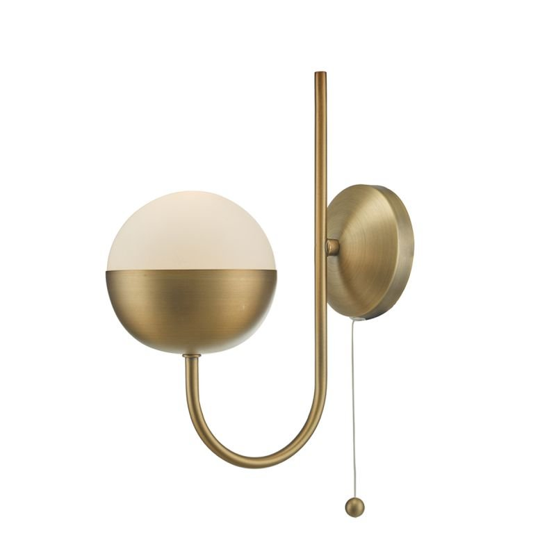Wisebuys-AND0742 - Andre - Aged Brass with White Glass Wall Lamp