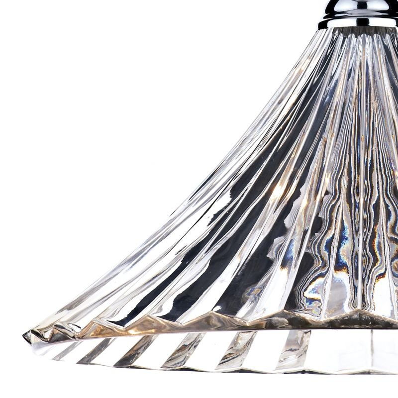 Dar-ARD868 - Ardeche - Clear Fluted Glass with Polished Chrome Big Pendant