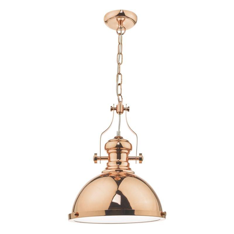 Dar-ARO0164 - Arona - Polished Copper with Glass Diffuser Single Pendant