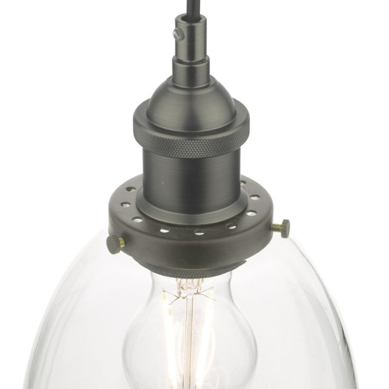 Dar-ARV0161 - Arvin - Clear Glass with Antique Chrome Single Pendant
