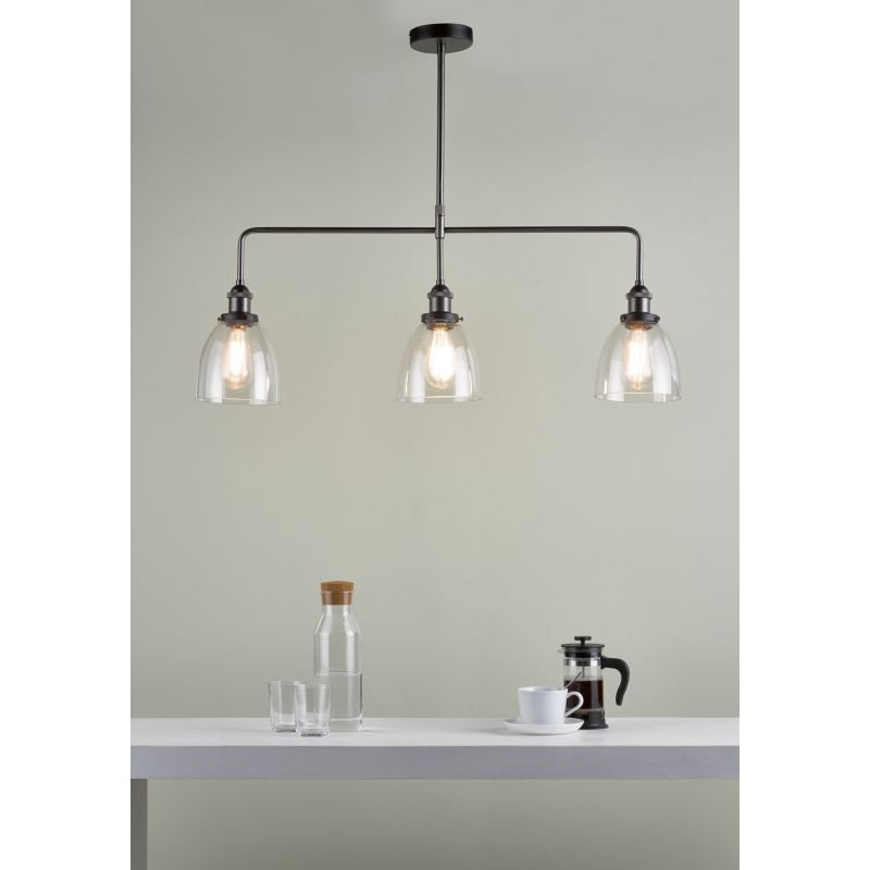 Dar-ARV0361 - Arvin - Clear Glass with Antique Chrome 3 Light over Island Fitting